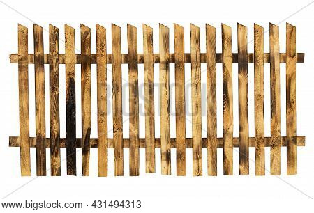 Wooden Burnt Fence Isolated On White Background. Rough Old Wood Texture. Aged Planks Hammered In A R