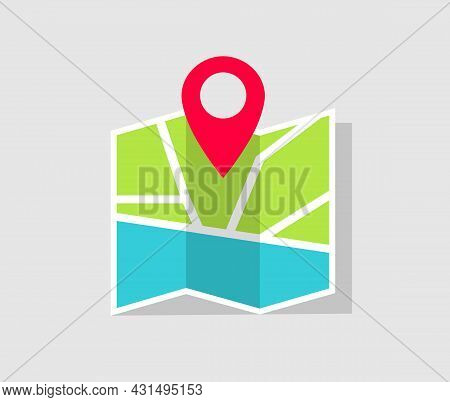 Map Icon With Gps Pin. Location On Map. Pin Of Position And Place. Sign Of Route And Search Of Place