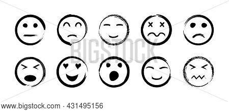 Sketch Face. Handdrawn Icon Of Smile. Happy And Sad Emoticon. Doodle Set Of Emoji Faces. Outline Of