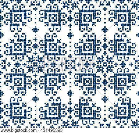Floral Traditional Zmijanje Cross Stitch Style Vector Folk Art Seamless Pattern - Textile Or Fabric