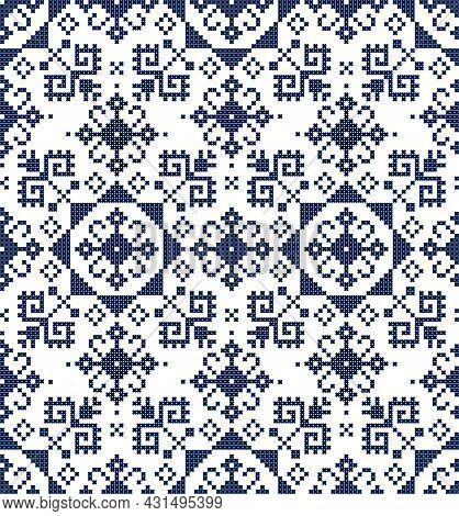 Retro Zmijanje Embroidery Style Vector Folk Art Seamless Pattern - Textile Or Fabric Print Cross Sti