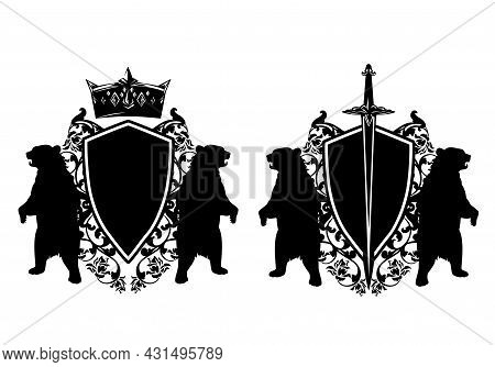 Two Bears Standing Up With Heraldic Shield, King Crown, Knight Sword And Rose Flowers Decor - Mediev