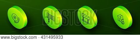 Set Isometric Line Ringing Alarm Bell, Fire Hose Reel, Road Barrier And Burning House Icon. Vector