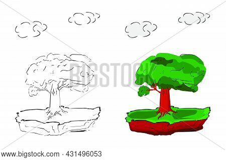 Vector Hand Draw Sketch, Tree At Flying Or Floating Island .