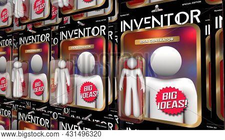 Inventor Action Figure Dreamer Thinker Creator Big Idea Generator 3d Illustration