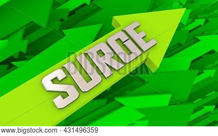 Surge Increase Grow Boost Higher Arrows Rising Up Expansion 3d Illustration