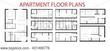 Apartment Floor Plans. Micro, One, Two Bedroom Apartment. Interior Design Elements Kitchen, Bedroom,