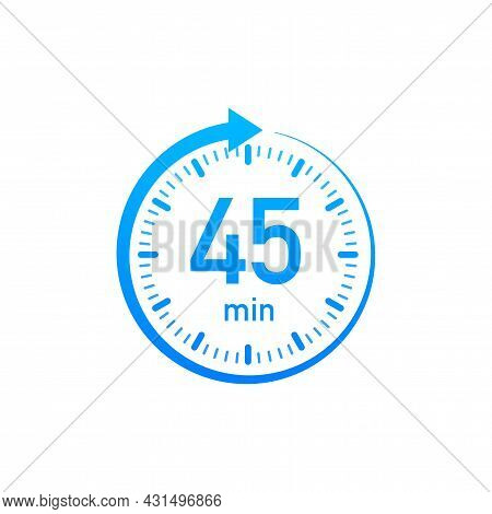 The 45 Minutes, Stopwatch Vector Icon. Stopwatch Icon In Flat Style, Timer On On Color Background. V