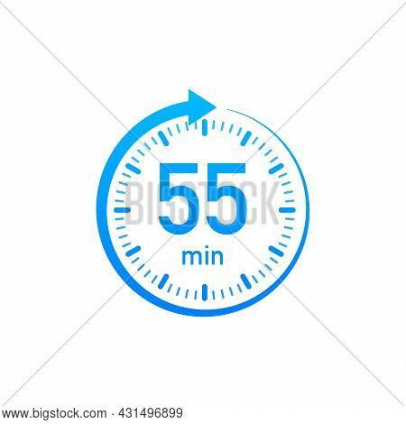 The 55 Minutes, Stopwatch Vector Icon. Stopwatch Icon In Flat Style, Timer On On Color Background. V