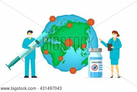 Doctor With Coronavirus Infection Vaccine Syringe And Ampoule On Infected Earth Planet. Covid-19 Dis