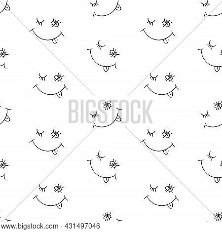 Seamless Pattern With Funny Blinking Eyes And Smile. Simple Black Doodles On White Background. Vecto