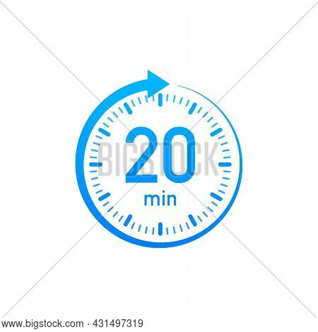 The 20 Minutes, Stopwatch Vector Icon. Stopwatch Icon In Flat Style, Timer On On Color Background. V
