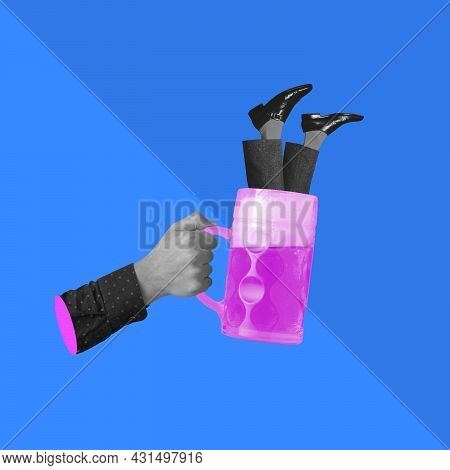 Human Hand With Beer Glass And Protruding Legs. Contemporary Art Collage, Modern Artwork. Concept Of