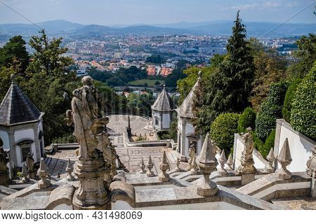 View of the stairway to the church of Bom Jesus do Monte in Braga, Portugal.