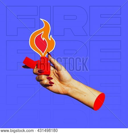 Modern Art Collage In Pop-art Style. Female Hand With Cigarette Lighter Isolated On Blue Background