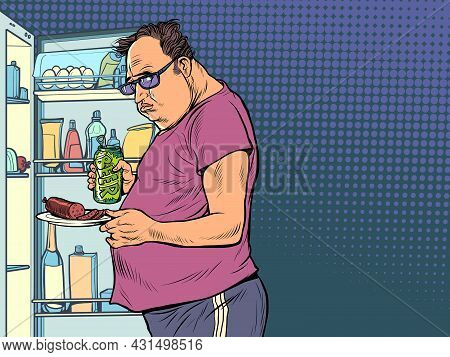 Fat Man At The Refrigerator. Night Hunger. Overweight And Health, Diet
