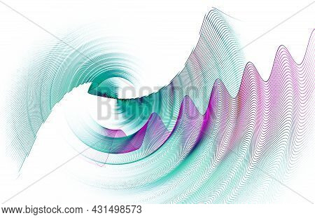Turquoise And Purple Striped Wavy Planes Rotate On A White Background. Abstract Fractal Background.
