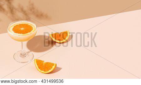 Fresh orange margarita cocktail with orange slices