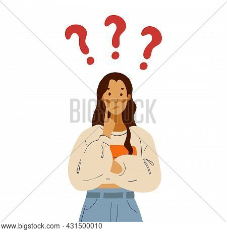 The Student Thinks About The Problem, The Girl Solves The Question. Cute Cartoon Flat Illustration W