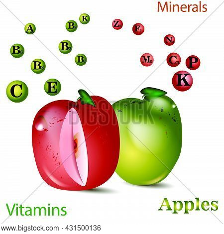 Apple Vitamins .vector Illustration With Useful Nutrition Facts. Apples Are A Rich Source Of Vitamin