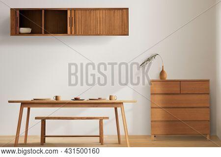 Wooden furniture in minimal dining room interior design