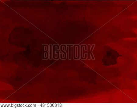 Red Halloween Bloody Watercolor Background. Blood Pattern, Grunge Texture. Vector
