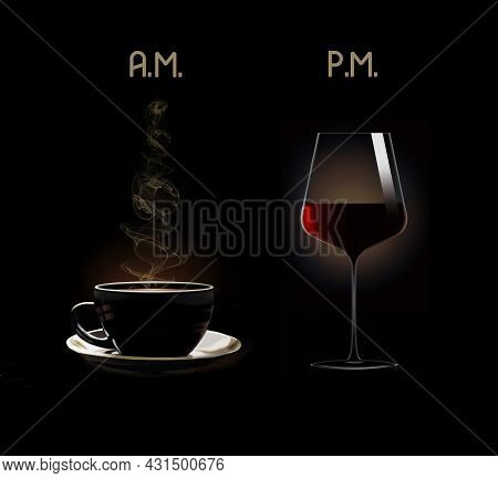 A Cup Of Coffee And A Glass Of Wine Are Seen Labeled As A.m. And Pm. In This 3-d Illustration.