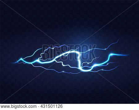 Abstract Blue Lightning On Black Background. Blitz Lightning Thunder Light Sparks Storm Flash Thunde