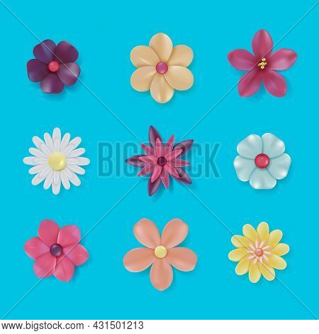 Realistic Detailed 3d Colorful Daisy Flower Set On A Blue Background. Vector Illustration Of Plastic