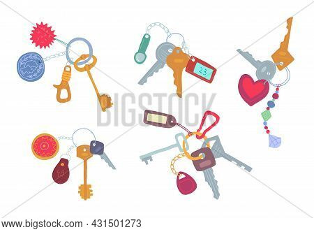 Cartoon Color Various Keys Icons Set Flat Design Style. Vector Illustration Of Key On A Charm Icon