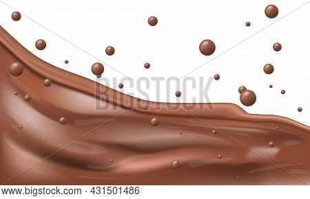 3d Chocolate Mass Flow With Splashes And Drops
