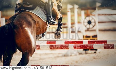 The Shod Hooves Of A Horse Over An Obstacle. The Horse Overcomes An Obstacle. Equestrian Sport, Jump
