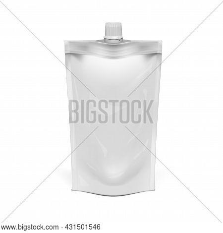 3d White Foil Doypack Food Or Drink Bag Packaging