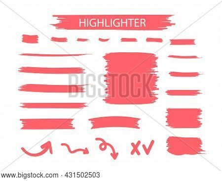 Red Highlighter Marker Strokes. Yellow Watercolor Hand Drawn Highlight Set