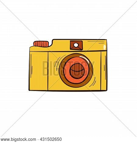 Photo Camera Vector Illustration. Isolated On A White Background. Hand Drawn Style. Photographing. Y