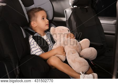 Little Boy Fastened With Car Safety Belt In Child Seat Holding Toy Bear