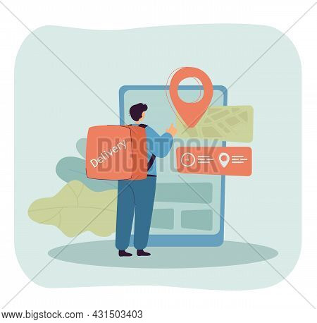 Cartoon Courier Checking Location Through Huge Smartphone. Man With Thermal Bag Delivering Order Fla