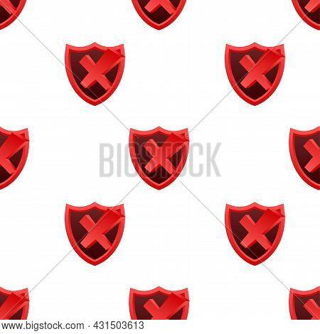 Rejected Label Shield Pattern. Vector Stock Illustration.