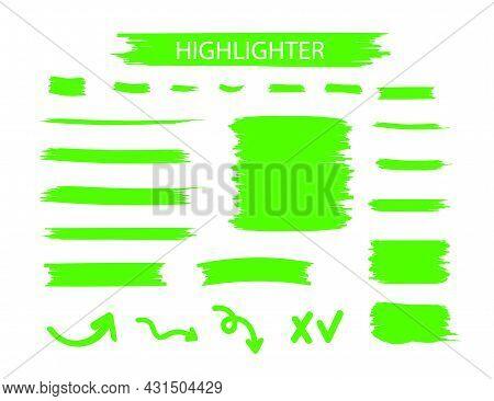 Green Highlighter Marker Strokes. Yellow Watercolor Hand Drawn Highlight Set