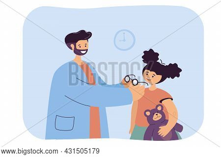 Ophthalmologist Assisting In Selection Of Glasses For Child. Flat Vector Illustration. Happy Girl An