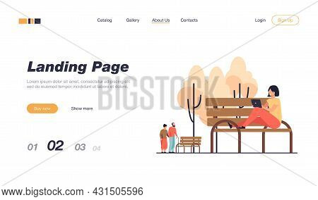 Happy Young Woman Using Tablet Outside. Girls Sitting On Bench With Digital Device Flat Vector Illus