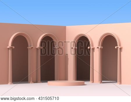 Podium With Antique Terracotta Arches. A Pedestal With Columns On The Background Of A Clear Blue Sky