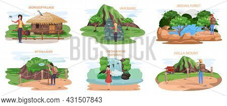 Set Of Tourist Attractions Of Jeju Island Mountaine Hallasan, Cheonjihyeon Waterfall, Jeolmul Forest