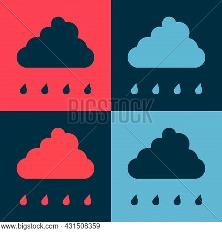 Pop Art Cloud With Rain Icon Isolated On Color Background. Rain Cloud Precipitation With Rain Drops.