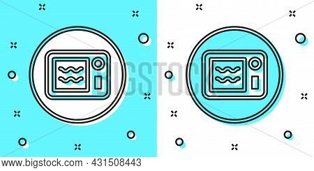 Black Line Microwave Oven Icon Isolated On Green And White Background. Home Appliances Icon. Can Be