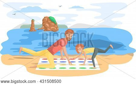 Father And Daughter Playing Twister Game. Man And Woman Happy Family In Everyday Life At Sea. Young