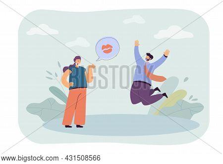 Cartoon Girlfriend Sending Flying Kiss To Happy Boyfriend. Woman Flirting With Man Jumping In Air Fl