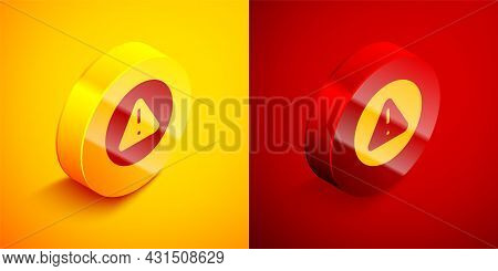 Isometric Exclamation Mark In Triangle Icon Isolated On Orange And Red Background. Hazard Warning Si