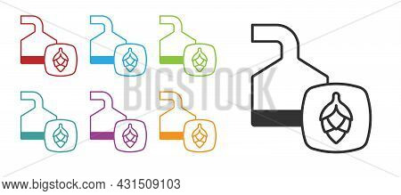 Black Traditional Brewing Vessels In Brewery Icon Isolated On White Background. Beer Brewing Process