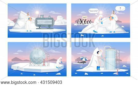 Set Of Illustrations About Scientists Working In Research Stations Of Global Warming. People In Prot